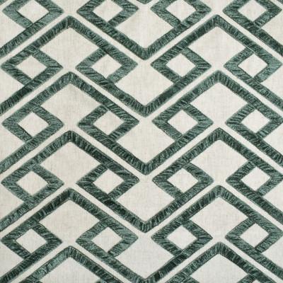 S3948 Aloe Fabric: S53, GEOMETRIC, EMBROIDERY, CHENILLE, GREEN, ALOE, CHENILLE EMBROIDERY