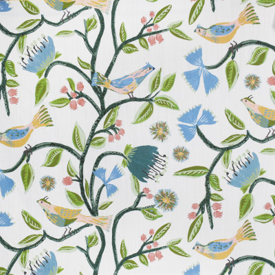 S3955 Bali Fabric: S53, FLORAL, ANIMAL, NOVELTY, PRINT, BIRD, YELLOW, BLUE, GREEN