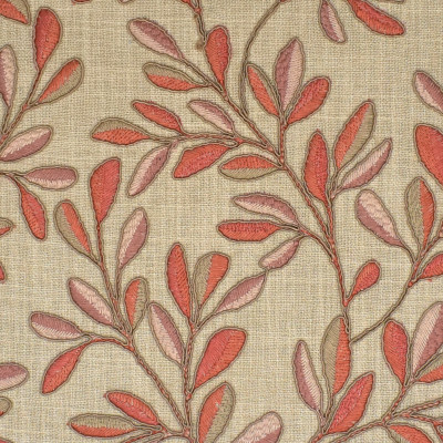 S3960 Clay Fabric: S53, FOLIAGE, FLORAL, EMBROIDERY, PINK, CLAY