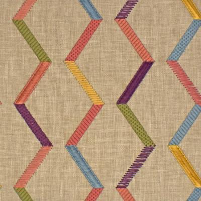 S3964 Sunset Fabric: S53, GEOMETRIC, CONTEMPORARY, EMBROIDERY, PURPLE, YELLOW, PINK, SUNSET, MULTI, FIL COUPE, EYELASH