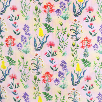 S3966 Spring Fabric: S53, FLORAL, CONTEMPORARY, BOTANICAL, PRINT, PINK, YELLOW, SPRING