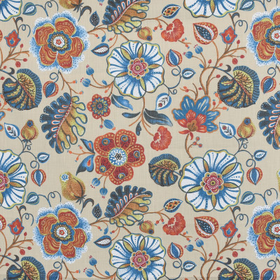 S3972 Chili Fabric: S53, FLORAL, PRINT, RED, TEAL, CHILI