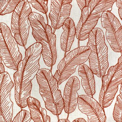 S3975 Rust Fabric: S53, FOLIAGE, TROPICAL, EMBROIDERY, ORANGE, RUST