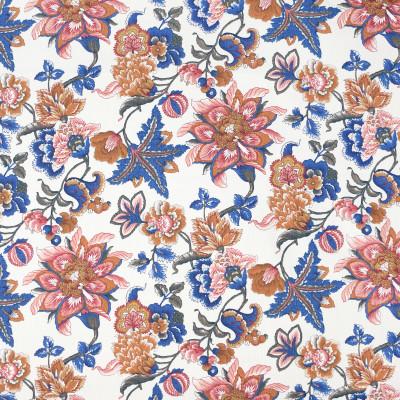 S3976 Cinnabar Fabric: S53, FLORAL, PRINT, RED, ORANGE, BLUE, CINNABAR