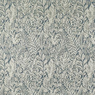 S3980 Indigo Fabric: S54, FLORAL, WOVEN, BLUE, LEAVES, FOLIAGE, INDIGO