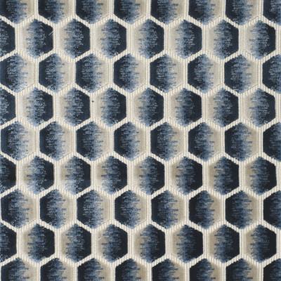 S3982 Waves Fabric: S54, GEOMETRIC, VELVET, TEXTURE, CUT VELVET, HEXAGON, BLUE, DENIM, OMBRE