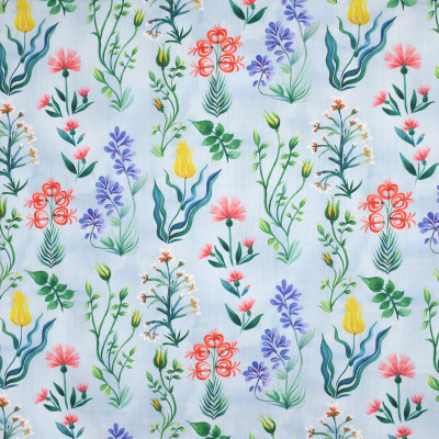 S3992 Sky Fabric: S54, FLORAL, FOLIAGE, BOTANICAL, PRINT, BLUE, YELLOW, RED, MULTI