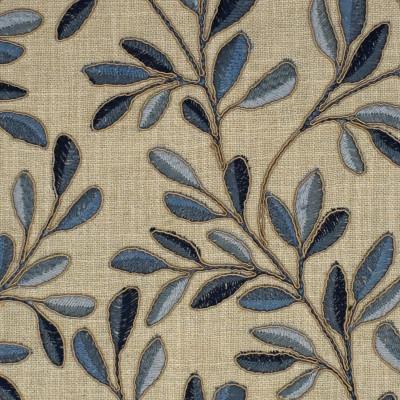 S4001 Horizon Fabric: S54, LEAF, FOLIAGE, FLORAL, EMBROIDERY, BLUE, HORIZON