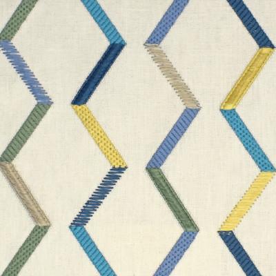 S4011 Island Fabric: S54, GEOMETRIC, EMBROIDERY, TEXTURE, EYELASH, FIL COUPE, BLUE, GREEN, YELLOW, ISLAND, WINDOW