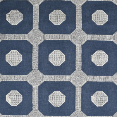 S4013 Denim Fabric: S54, DOT, GEOMETRIC, EMBROIDERY, BLUE, DENIM, WINDOW