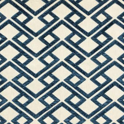 S4017 Bristol Fabric: S54, GEOMETRIC, CONTEMPORARY, EMBROIDERY, CHENILLE, BLUE, BRISTOL
