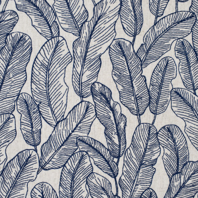 S4018 Denim Fabric: S54, FOLIAGE, TROPICAL, BEACH, EMBROIDERY, BLUE, DENIM