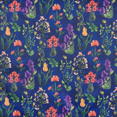 S4031 Deep Blue Fabric: S54, BOTANICAL, CONTEMPORARY, FLORAL, PRINT, COTTON, 100% COTTON, BLUE, ORANGE, DEEP BLUE