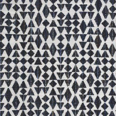 S4034 Indigo Fabric: S54, GEOMETRIC, WOVEN, BLUE, INDIGO, BROWN, BOUCLE