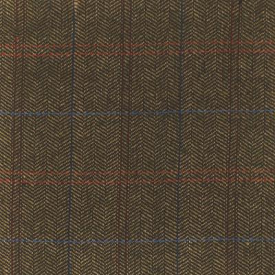 S4061 Tobacco Fabric: S55, WOOL, WOOL BLEND, MENSWEAR, PLAID, HERRINGBONE, NEUTRAL, BLACK, TOBACCO