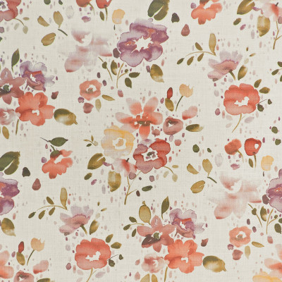 S4091 Berry Fabric: M07, BERRY, PINK, PRINT, FLORAL, WATERCOLOR, LINEN