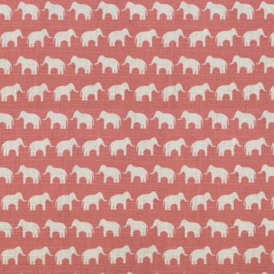 S4102 Coral Fabric: M07, CORAL, PRINT, ANIMAL, ELEPHANT, ORANGE