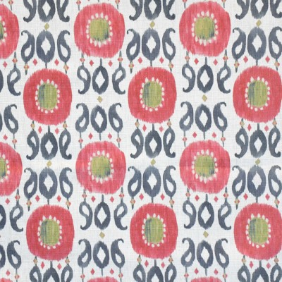 S4103 Taffy Fabric: M07, CORAL, IKAT, PAISLEY, PRINT, PINK, MULTICOLORED