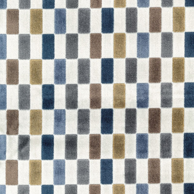 S4117 Prussian Fabric: M07, MULTICOLORED, BLUE, CREAM, VELVET, GEOMETRIC, GRID, CHECKERS, PRUSSIAN
