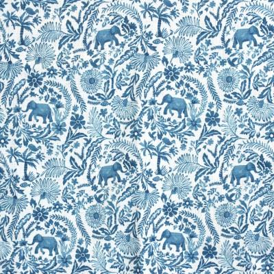 S4137 Peacock Fabric: M07, BLUE, FLORAL, PRINT, MONOCHROME, PEACOCK