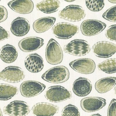 S4161 Aloe Fabric: M07, GREEN, SEASHELLS, PRINT, BEACH, LINEN, RAYON, POLYESTER