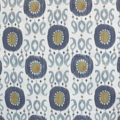 S4171 Slate Fabric: M07, SLATE, BLUE, PRINT, IKAT, PAISLEY, MULTICOLORED