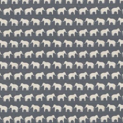 S4183 Slate Fabric: M07, ELEPHANT, PRINT, BLUE, SLATE, ANIMAL, JUVENILE