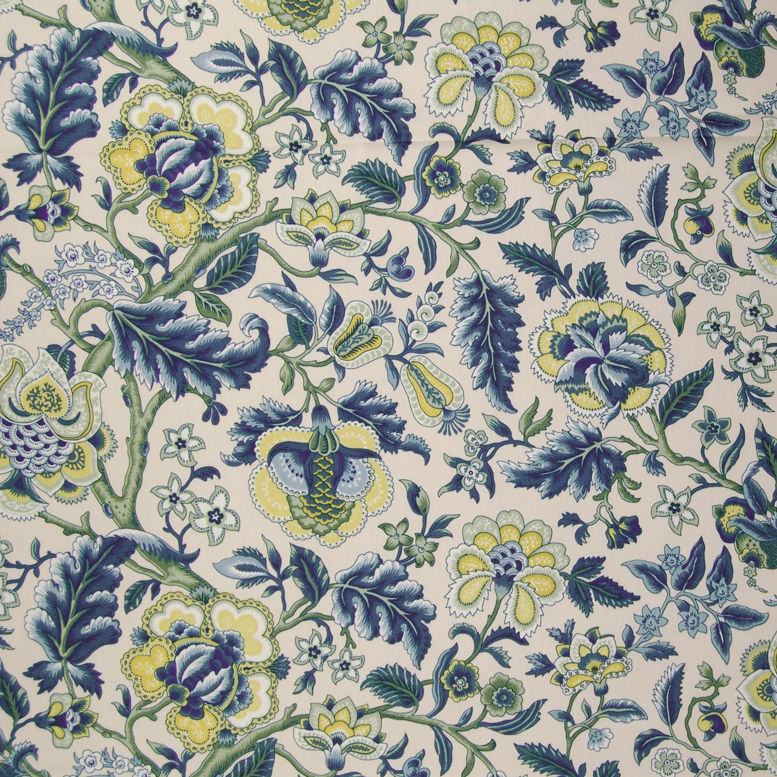 A9755 Blue Fabric C72 BLUE FLORAL CONTEMPORARY GREEN