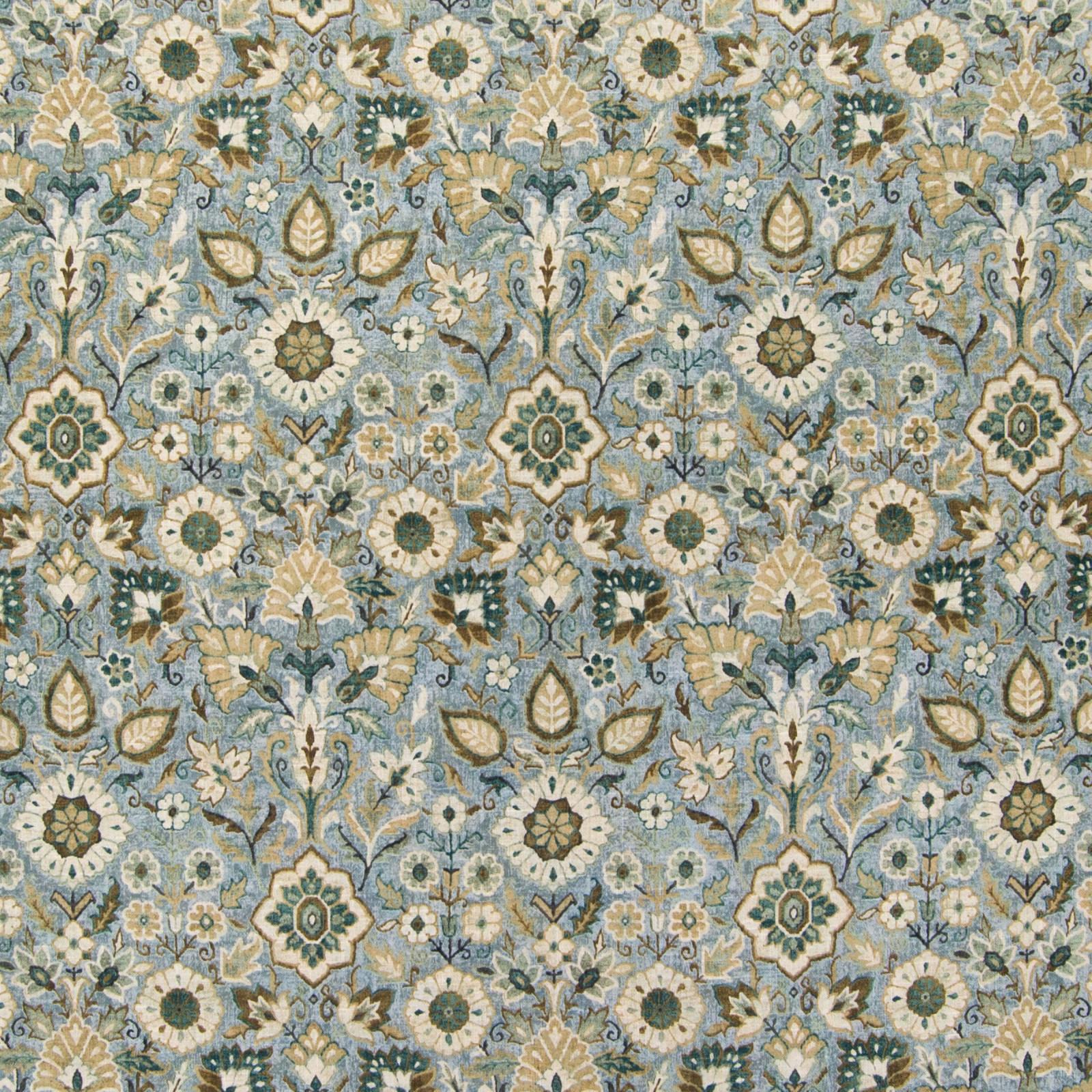 B5728 Nile Fabric D91 D57 SPA BLUE MEDALLION MEDIUM SCALE