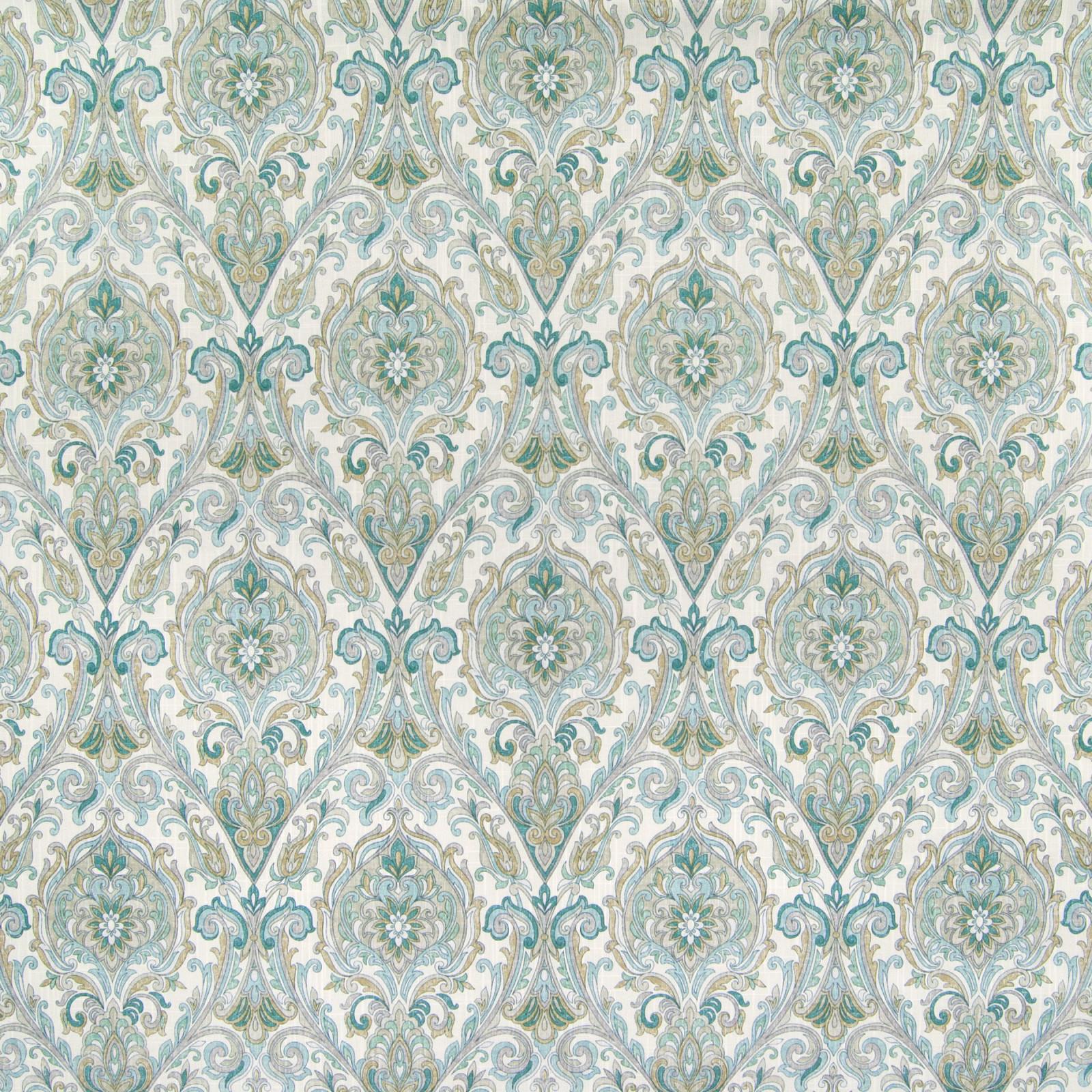 B6501 Jadestone Fabric D69 D71 TEAL MEDALLION MEDIUM SCALE PRINT