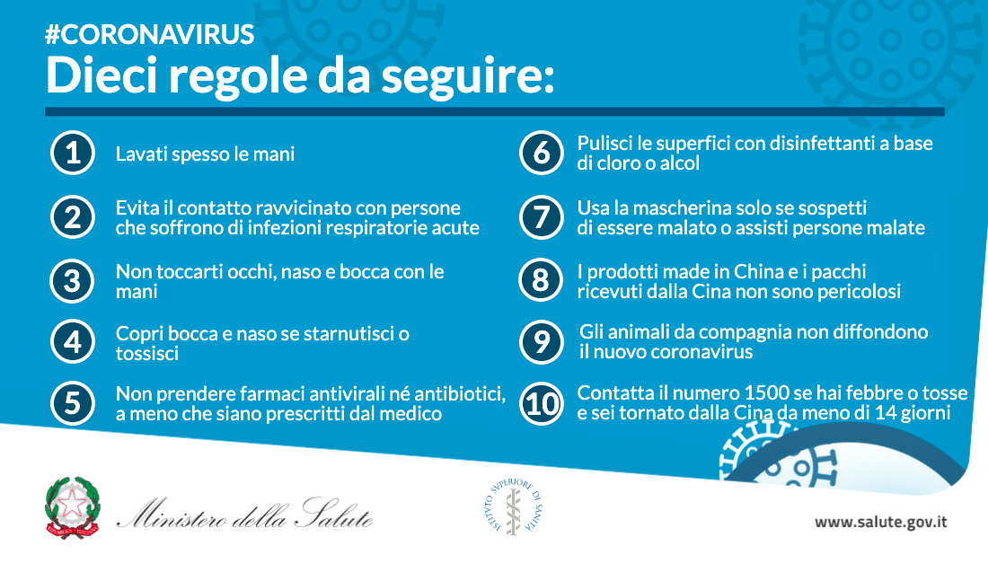 emergenza coronavirus in italia - il decalogo