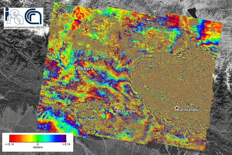 interferogramma terremoto nepal