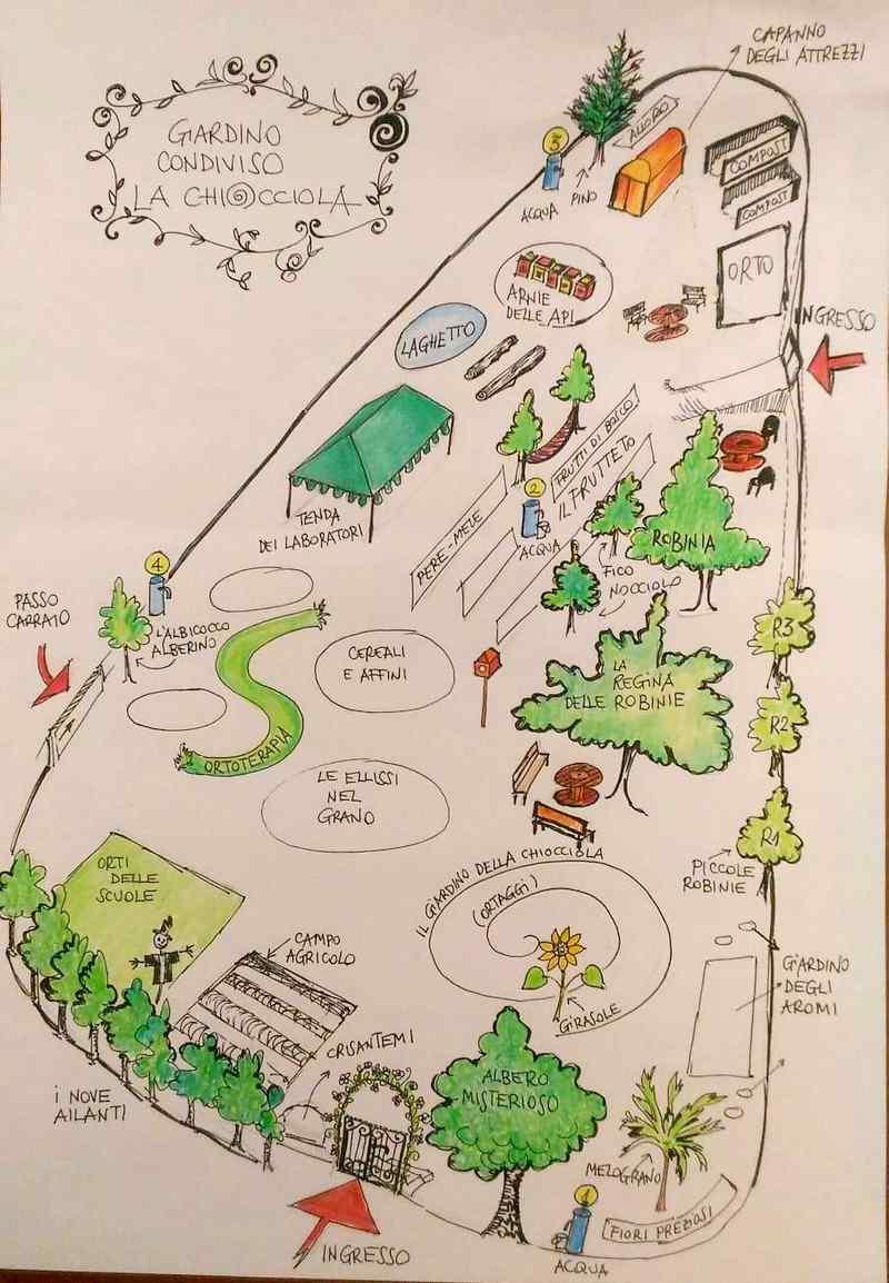 la mappa del giardino e orto la chiocciola