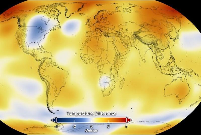 Il 2014, su scala globale, anno più caldo dal 1880