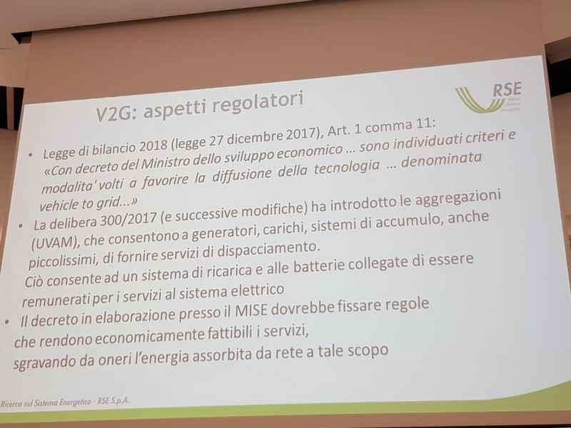 Vehicle to Grid - aspetti regolatori
