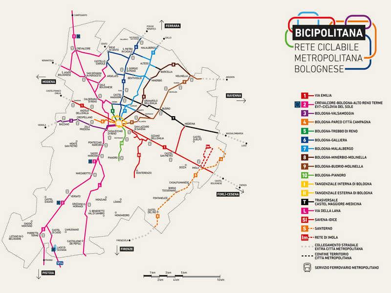 mappa della bicipolitana di Bologna