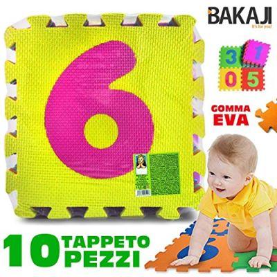 Bakaji Tappeto Per Bambini Da Pavimento 10 Pezzi Puzzle Neonato Numerico Antiurto Atossico Lavabile