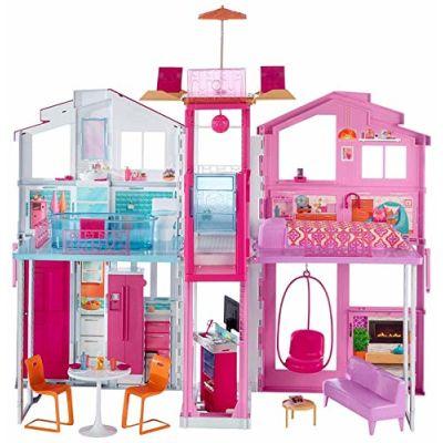 Barbie Casa di Malibu con 4 Stanze, Ascensore e Tanti Accessori, 18 x 41 x 74.5 cm, DLY32