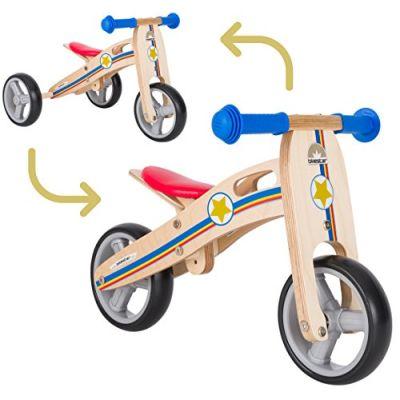 BIKESTAR Bicicletta Senza Pedali e Triciclo (2 in 1) in Legno per Bambino et Bambina da 18 Mesi ★ Bici Senza Pedali Bambini 7 Pollici ★ Blu