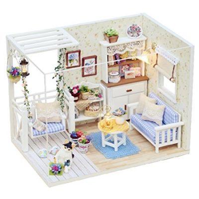 CUTEBEE miniatura casa delle bambole con mobili, fai da te kit di Dollhouse di legno oltre a prova di polvere e il movimento della musica, in scala 1:24 spazio creativo per idea regalo San Valentino(Cat Diary)