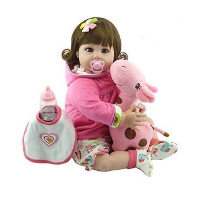 Decdeal NPK Bambole Reborn Bambino 22in 55cm Reborn Baby Rebirth Doll Regalo per Bambini Corpo di Stoffa Carino Giocattolo Ragazza Rosa,Cervo Grande