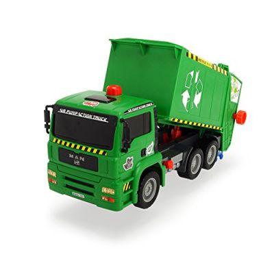 Dickie Toys 203805000–Air Pump Garbage Truck, Camioncino della Spazzatura con bidoni, 31cm