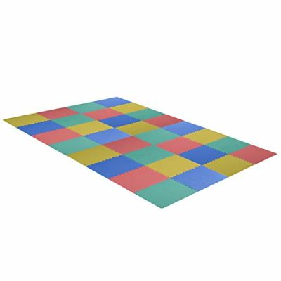 homcom Tappeto Puzzle Gioco per Bambini Cameretta 32 Pezzi in Eva Morbido Ecologico Atossico Colorato 63×63cm