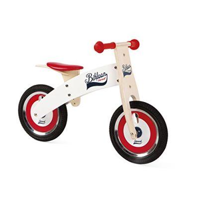 Janod - Bikloon Bicicletta senza Pedali di Legno, Rosso/ Bianco, J03266