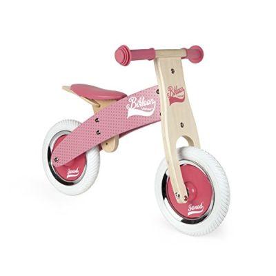 Janod - Little Bikloon La Mia Prima Bicicletta senza Pedali di Legno, Rosa, J03259