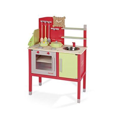 Janod - Maxi Cucina di Legno, Natur' (Rosso / Verde), J06586