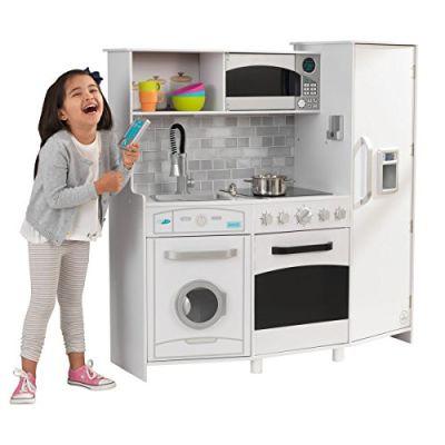 KidKraft 53369 Cucina Giocattolo in Legno per Bambini Large White con Luci e Suoni e con Telefonino e Macchina del Ghiaccio Inclusi - Bianco