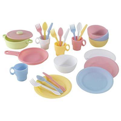 KidKraft 63027 Set Giocattolo di Cucina da 27 Pezzi per Bambini, Giochi di Imitazione con Accessori Inclusi - Colori Pastello