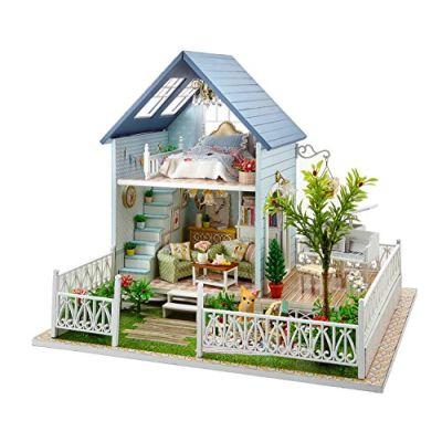 Kit per casa delle bambole fai da te in miniatura, in legno, fatta a mano, modello Villa nella foresta, completa di mobili e carillon
