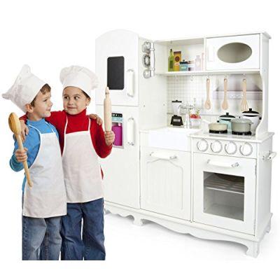 Leomark Cucina Grande Big Vintage Retro Bianca Giocattolo Per Bambini Gioco in Legno Giocare Educazione Tavola Divertimento  Accessori Per Cucina Bambina 96x33x102